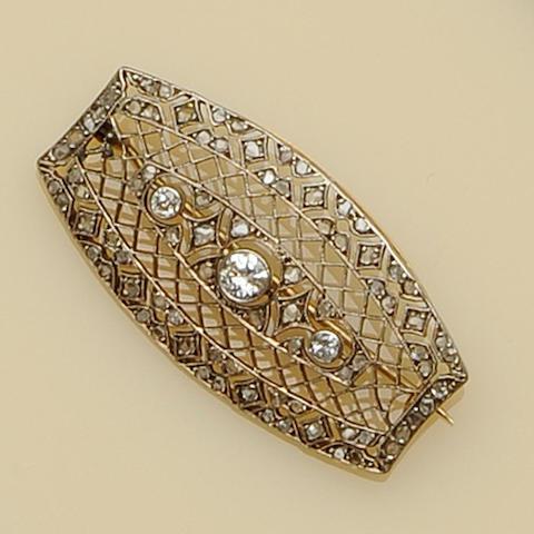 A diamond latticework brooch