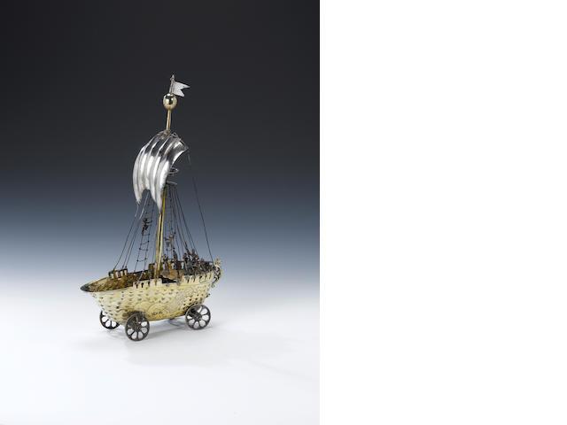 A 17th century German silver-gilt nef raised on four wheels by Jeronymus Gilg, Augsburg circa 1620 - 30,