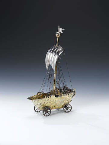 A 17th century German silver-gilt nef raised on four wheels by Jeronymus Gilg, Augsburg circa 1620 - 30,