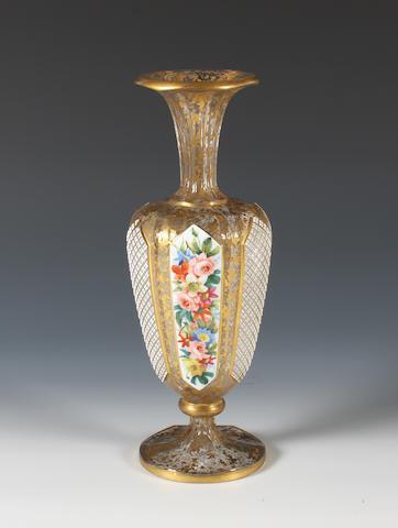 A Bohemian overlaid glass vase Circa 1900.