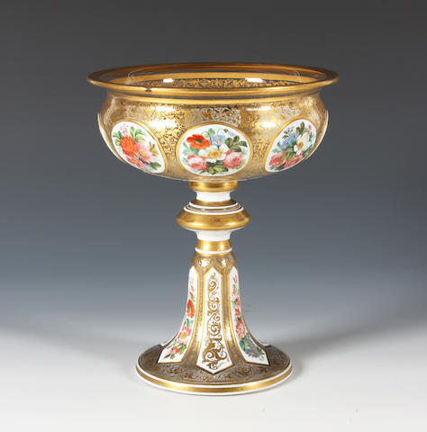 A Bohemian overlaid glass comport Circa 1900.