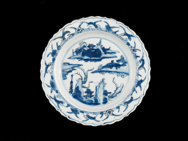 A pair of blue and white dishes Early 17th century