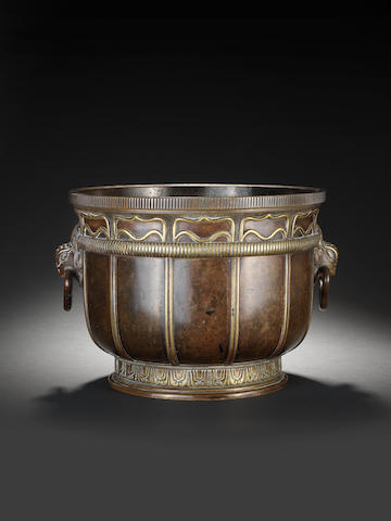 A large bronze two-handled deep bowl 18th/early 19th century