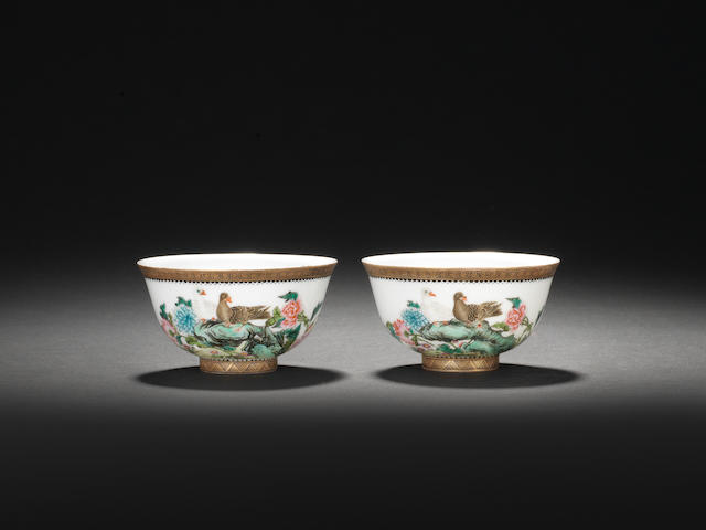 A pair of famille rose flaring bowls Second quarter of the 20th century, iron-red Jiangxi Ciye Jongsi marks