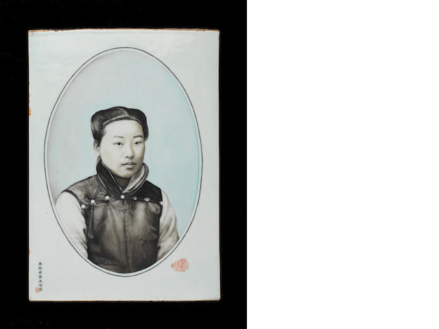 A grisaille enamelled plaque Painted by Wang Qi (1884-1937), early 20th century