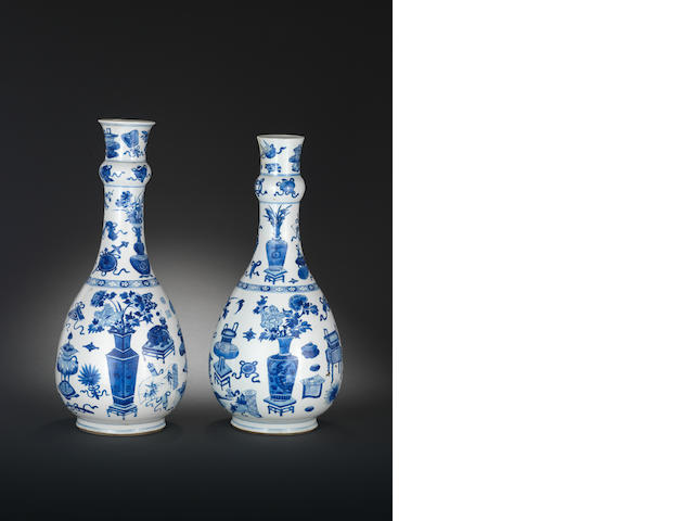 Two blue and white pear-shaped bottle vases Kangxi