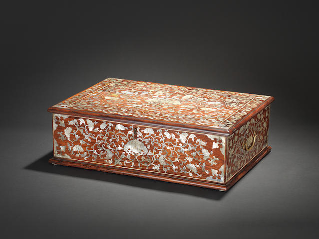 ALPHA SCHEME  A rare large mother-of-pearl-inlaid rosewood rectangular work box Probably 18th century