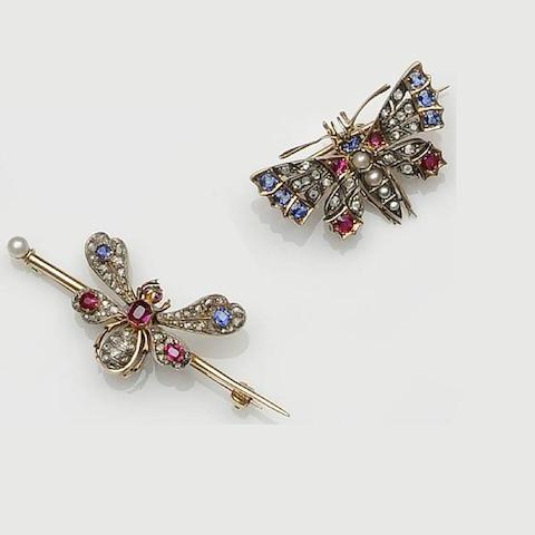 Two gem set butterfly brooches