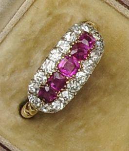 A diamond and ruby dress ring