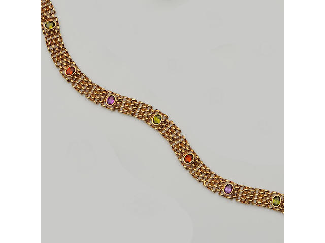 A multi gem set necklace