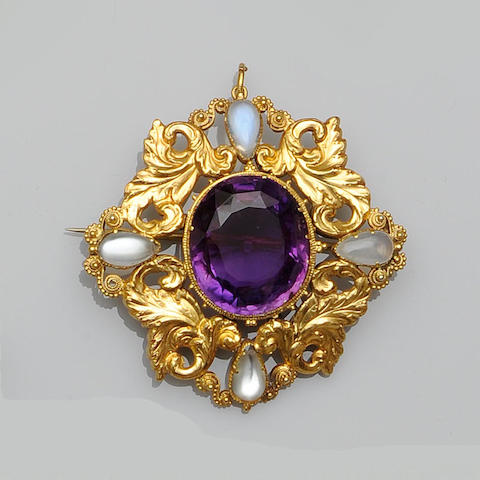 An amethyst and moonstone brooch/pendant