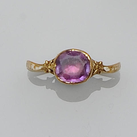 A Georgian amethyst set mourning ring