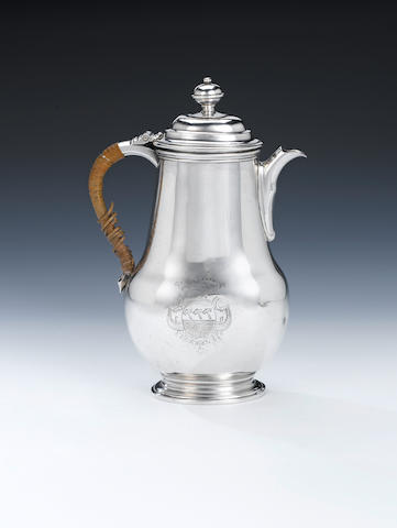 An early 18th century Dutch silver chocolate pot, by Bernt Wolff Nijmegen 1714 - 15,
