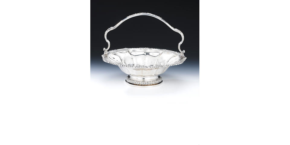 A George IV silver swing-handled bread/fruit basket, by Paul Storr, London 1827,