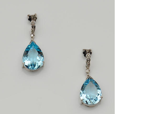 A pair of blue topaz and diamond set earpendants