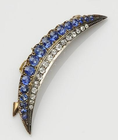 A Victorian sapphire and diamond crescent brooch