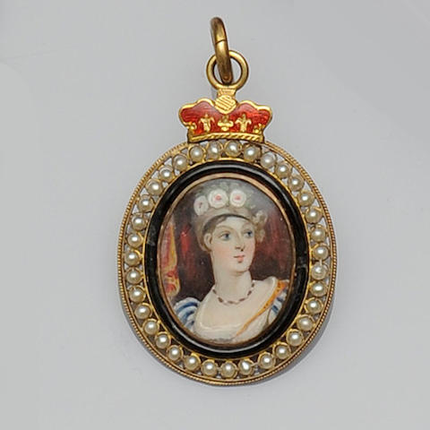 An early 19th century oval portrait miniature pendant