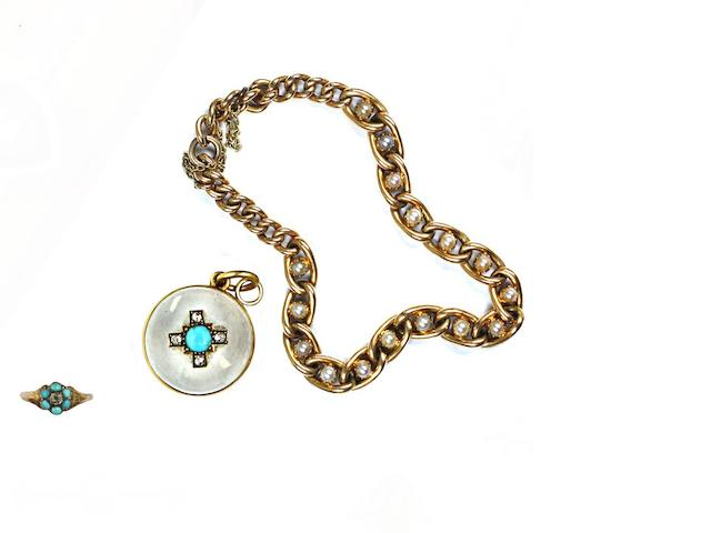 A 19th century rock crystal, turquoise and rose-cut diamond pendant/locket