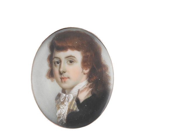 John Barry (British, active 1784-1827) A young Gentleman, wearing dark green coat with yellow and grey striped lapel and pink collar, white frilled chemise and stock, natural hair