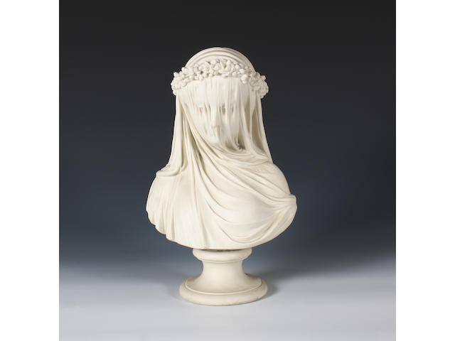 A Copeland parian bust of 'The Veiled Bride' Circa 1861-65.