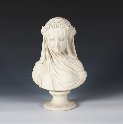 A Copeland parian bust of 'The Veiled Bride' Circa 1861-65