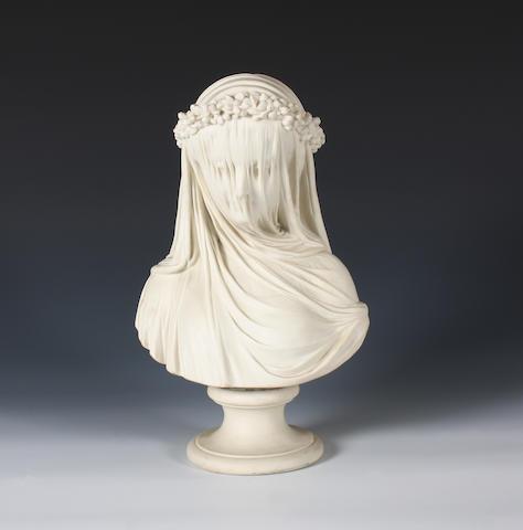 A Copeland parian bust of 'The Veiled Bride' Circa 1861-65.