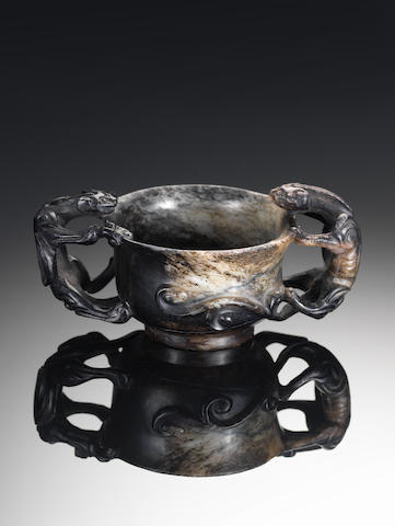 A black burnt jade archaistic cup Ming Dynasty