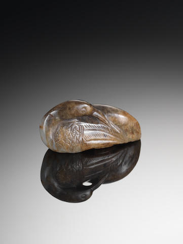 A brown jade carving of a duck Ming Dynasty