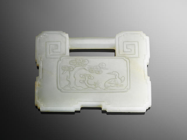 A pale green jade plaque 18th/19th century