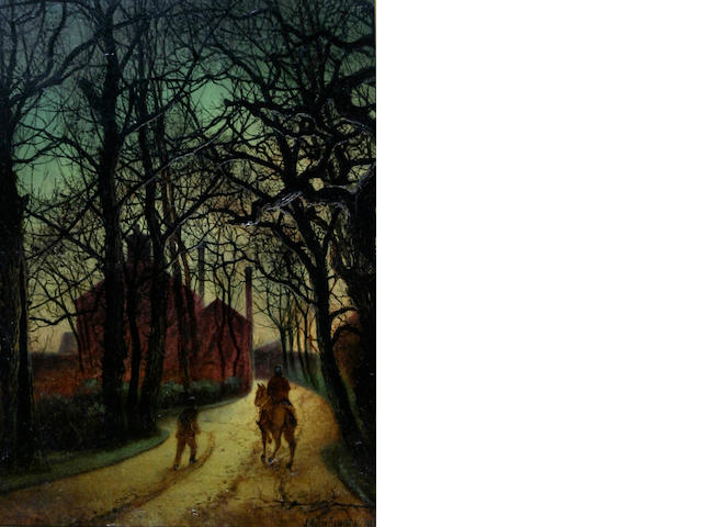 Follower of John Atkinson Grimshaw (British, 1836-1893) 'The Avenue, Twilight'