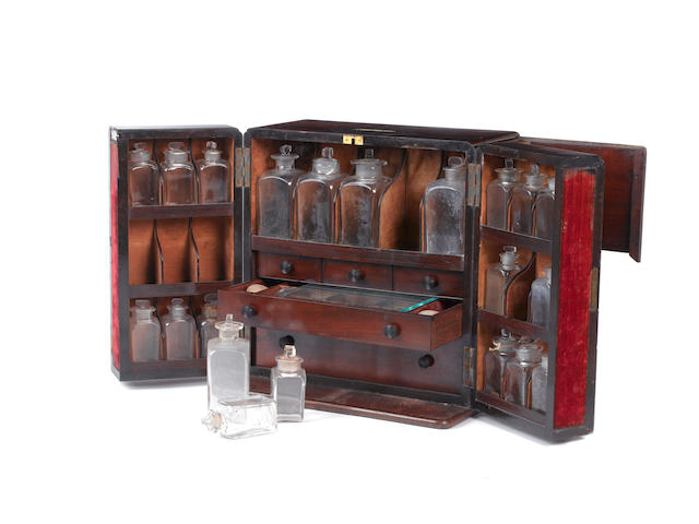 A mahogany medicine chest,  English,  circa 1830,
