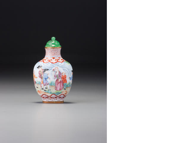 A Guangzhou enamel 'European-subject' snuff bottle Imperial, Qianlong iron-red enamel mark and of the period, 1750–1795