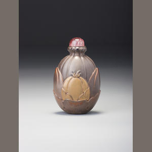A moulded lacquer 'melon and peach' snuff bottle Probably Imperial, 1750–1800