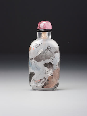 An inside-painted glass snuff bottle Yan Yutian, dated 1895