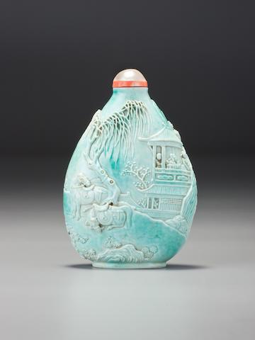 A turquoise porcelain carved 'landscape' snuff bottle Wang Bingrong, Jingdezhen, 1820–1840