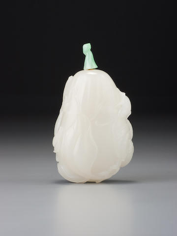 A white nephrite 'eggplant' snuff bottle Possibly Imperial, 1750–1800