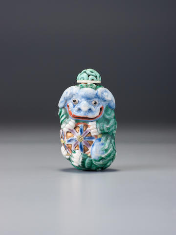 A 'famille-rose' moulded 'Buddhist lion' snuff bottle Possibly Jingdezhen Imperial kilns, 1780–1810
