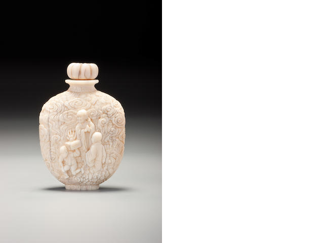 A carved ivory 'figures' snuff bottle Imperial Master, Japan, 1854–1910