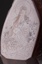 An inscribed limonite 'Guanyin' snuff bottle Jiang Pu, dated 1760, probably a gift to the Qianlong emperor