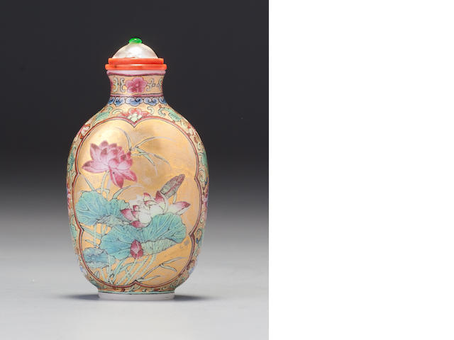 A 'famille-rose' enamelled gold-ground glass 'lotus' snuff bottle Imperial, palace workshops, Qianlong incised mark and of the period, 1736–1765