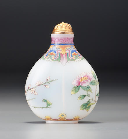A 'famille-rose' enamelled glass 'camellia and wintersweet' snuff bottle Imperial, palace workshops, Qianlong blue-enamel mark and of the period, 1750–1790