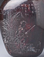An inscribed lacquer 'landscape' snuff bottle Xifeng shanren, dated 1891