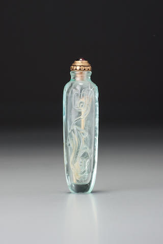 An inscribed aquamarine snuff bottle Probably Imperial, 1750–1860