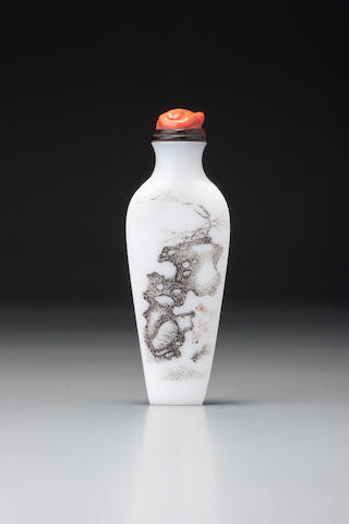 An inscribed white glass snuff bottle Ding Jun, dated 1887 (the bottle 1710–1780)