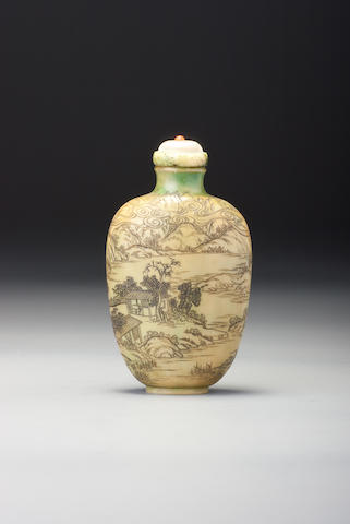 A carved ivory 'landscape' snuff bottle Katon, Japan, 1854–1930