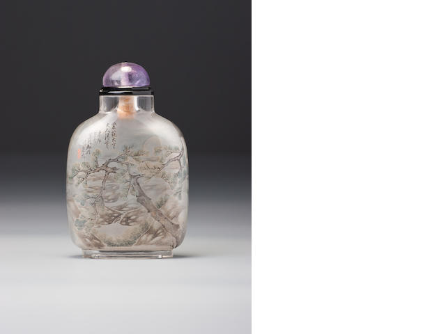 An inside-painted rock-crystal snuff bottle Zhou Leyuan, dated 1891 (the bottle 1740-1850)