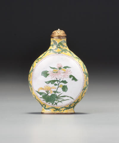 A Beijing enamel yellow-ground 'floral' snuff bottle Imperial, palace workshops, Kangxi yuzhi brown-enamel mark and of the period, 1705–1718