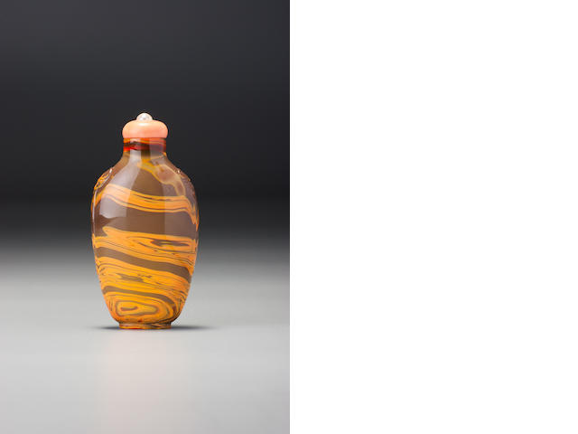 A 'realgar' glass snuff bottle 1770-1840
