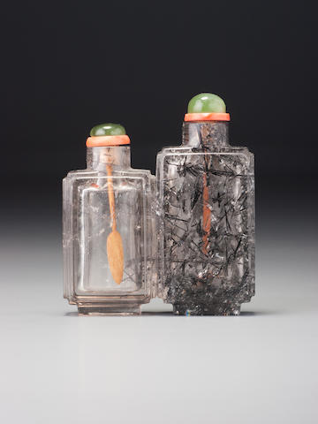 A 'hair-crystal' double snuff bottle Possibly School of the Rustic Crystal Master, 1740–1880