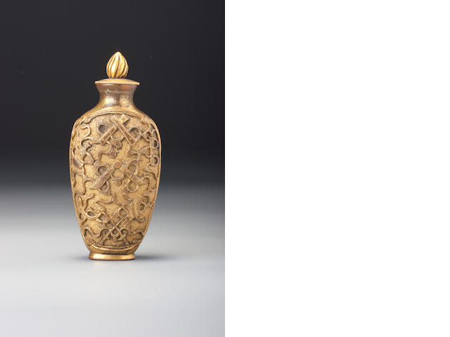 A gilt-bronze 'precious objects' snuff bottle Probably imperial, 1750–1800
